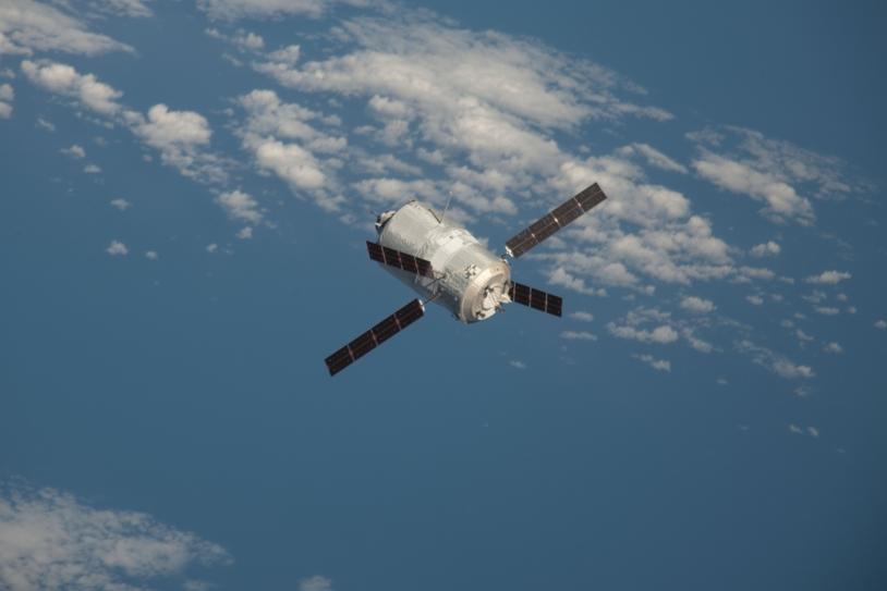 L'ATV-3 en vol libre. Crédits : NASA.