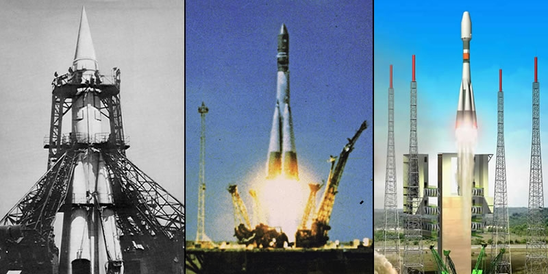 Soyouz à travers les âges... De g. à d. : la Sémiorka qui a emporté Spoutnik (1957), celle de Gagarine (1961) et une vue d'artiste de la version prochainement envoyée depuis la Guyane (Crédits : CNES/D. Ducros)